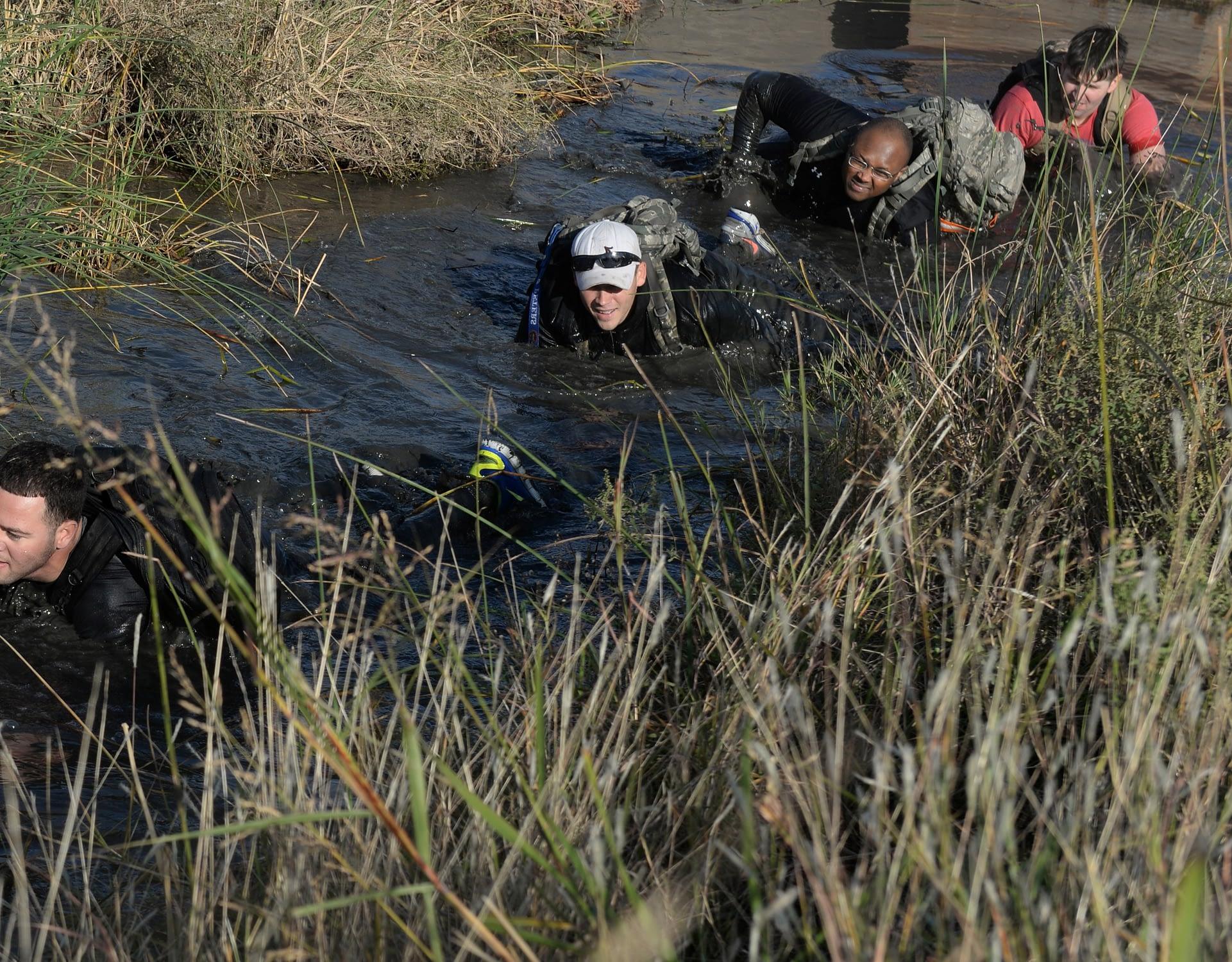 man crawling for army training